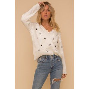 STARRY NIGHT DISTRESSED KNIT SWEATER